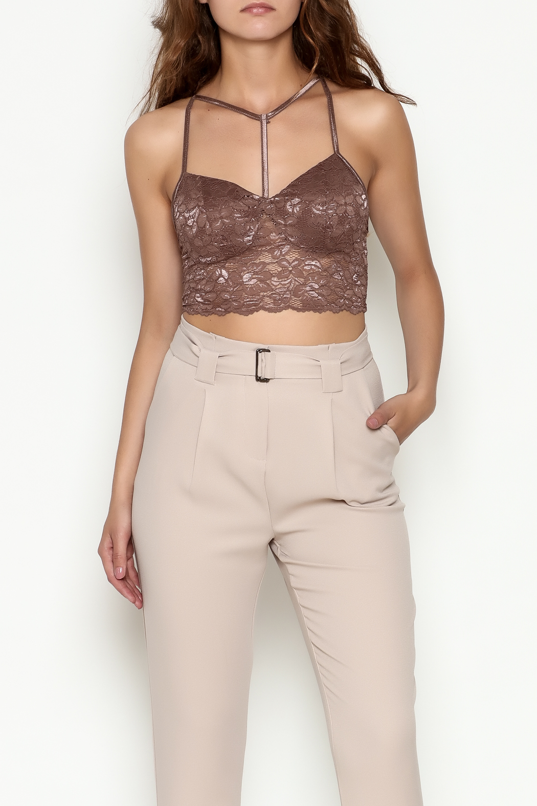 Bozzolo Lace Strap Bralette - Front Cropped Image