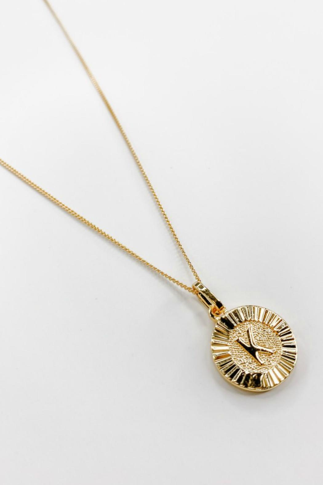 Bracha Initial Medallion Necklace - Side Cropped Image