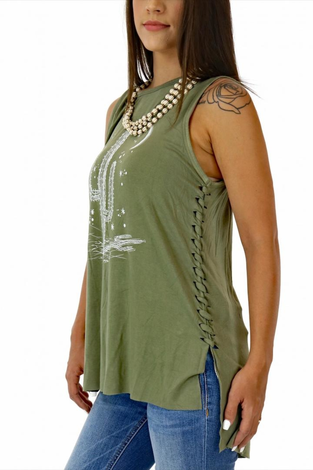 Miss Me Braided Cactus Tank - Front Full Image