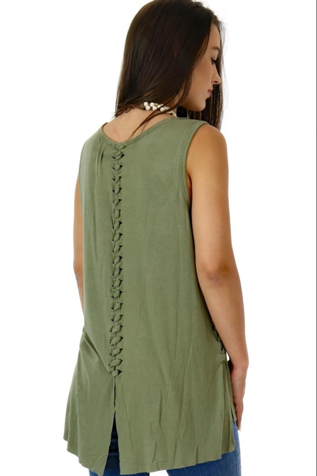 Miss Me Braided Cactus Tank - Side Cropped Image