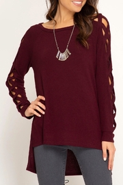 LuLu's Boutique Braided Sleeve Top - Product Mini Image
