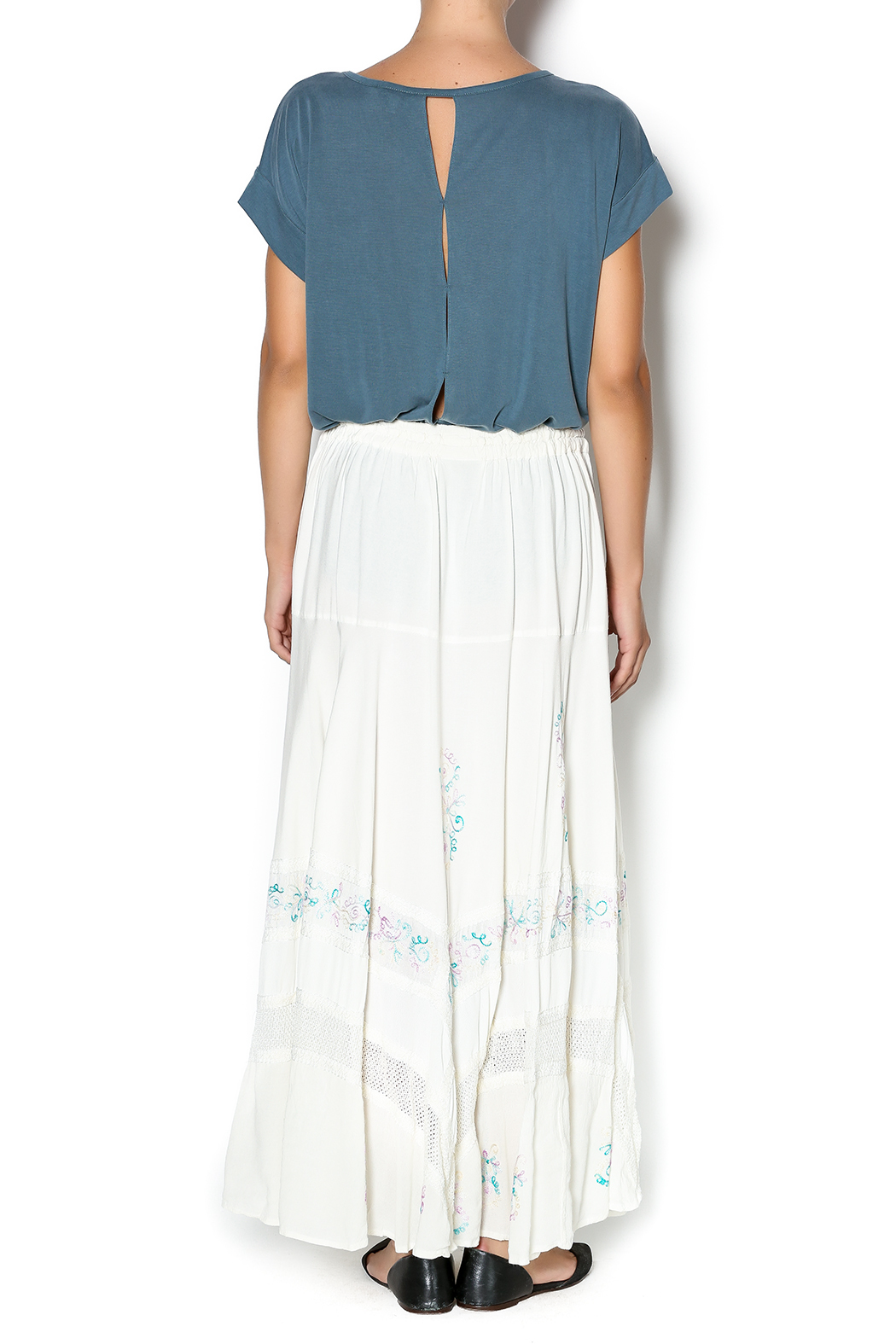Braja Embroidered White Skirt - Side Cropped Image