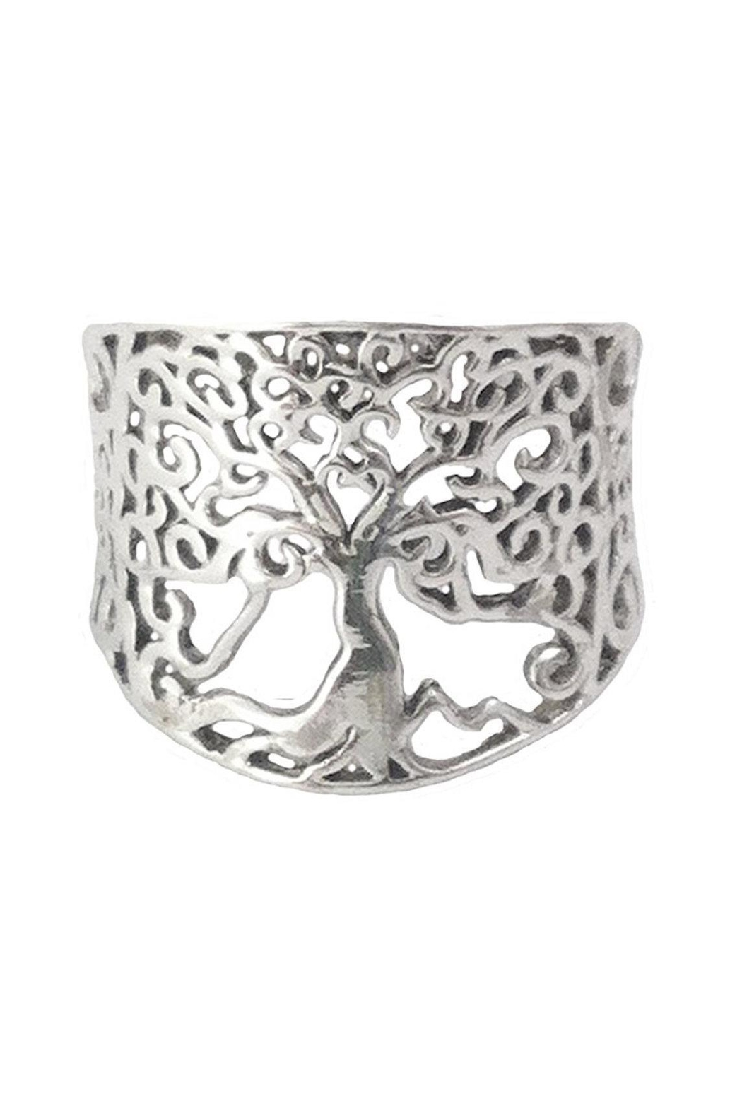 Braja Silver Tree Ring - Front Cropped Image