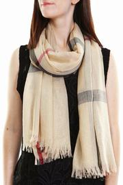 Leto Beige Plaid Scarf - Front cropped