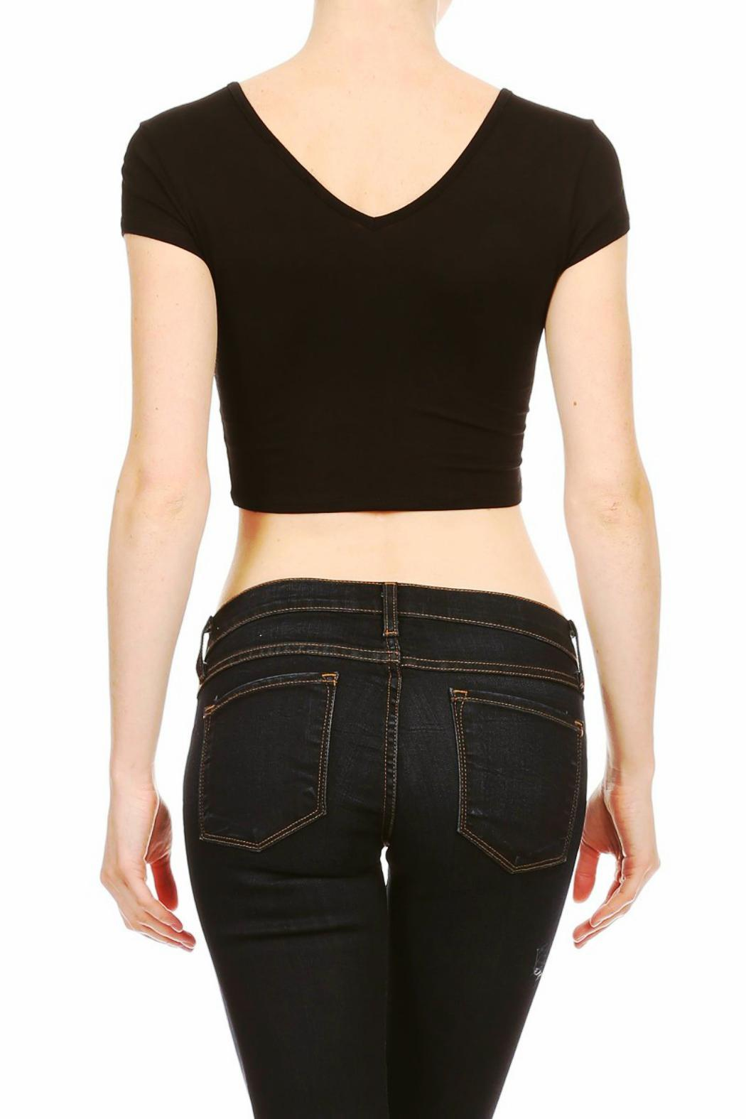 BRANDED Lace-Up Crop Top - Front Full Image