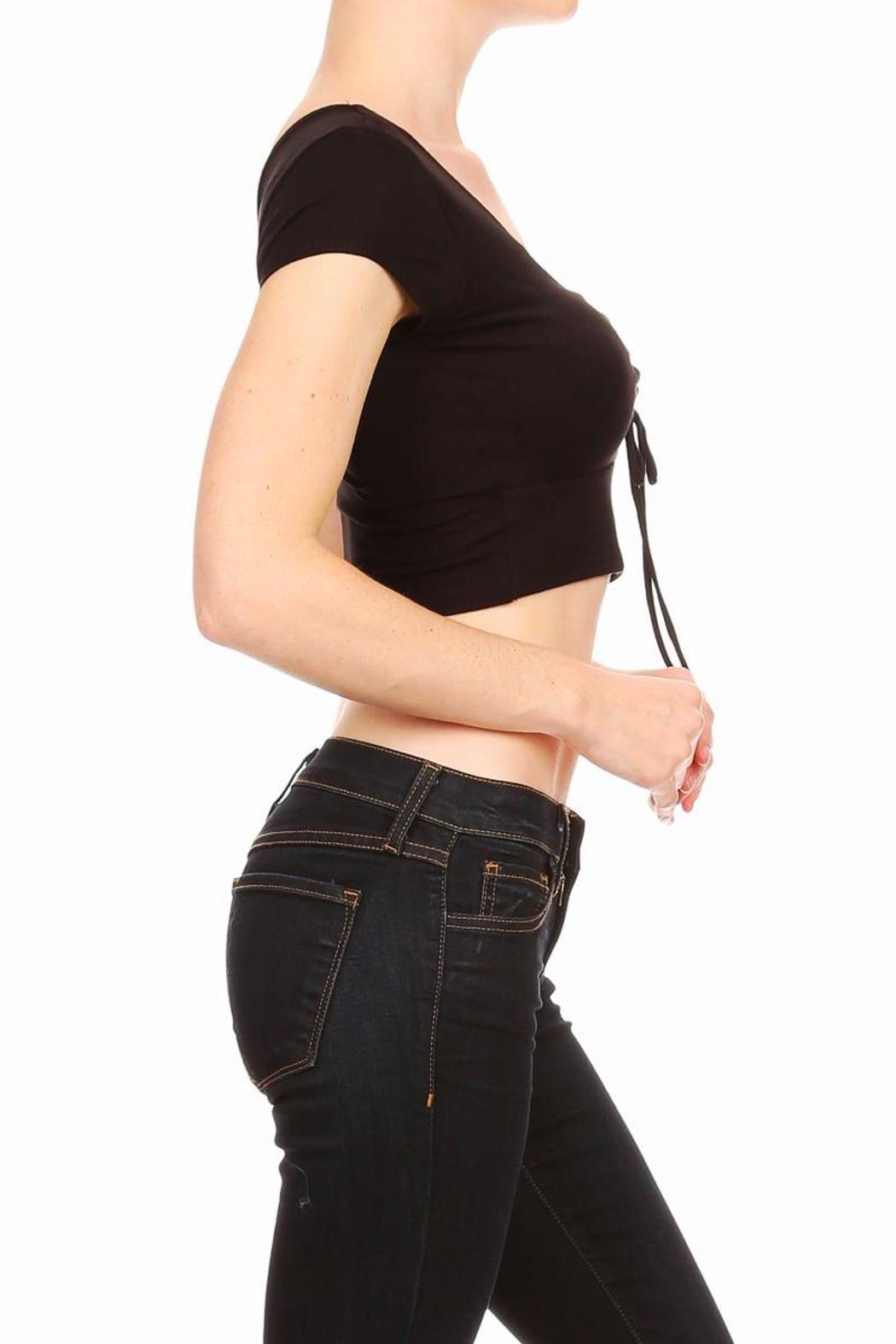 BRANDED Lace-Up Crop Top - Side Cropped Image
