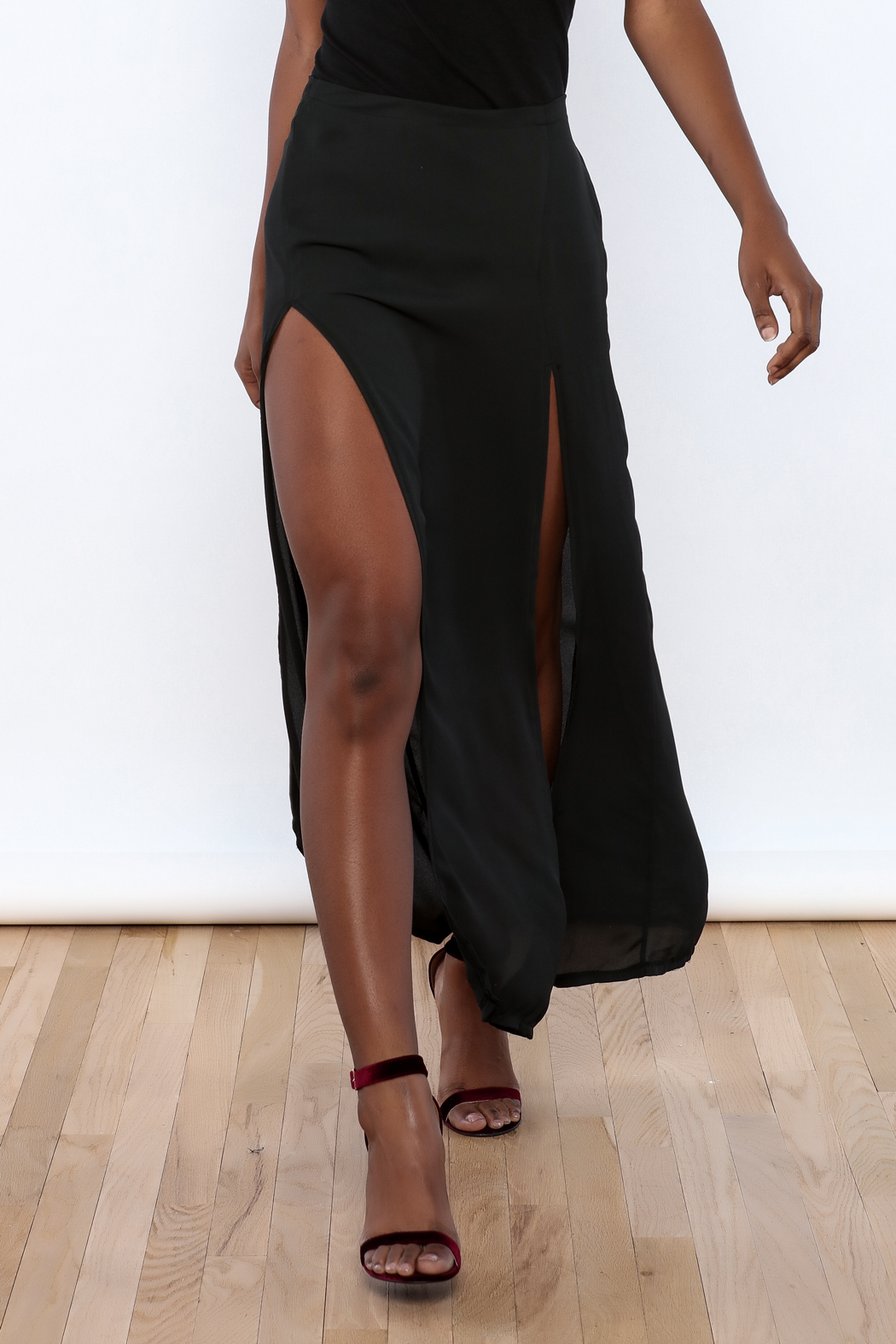 Brandy Melville Black Long Skirt - Front Cropped Image