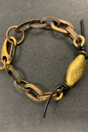 debe dohrer design brass bicone beads on links and leather - Product Mini Image