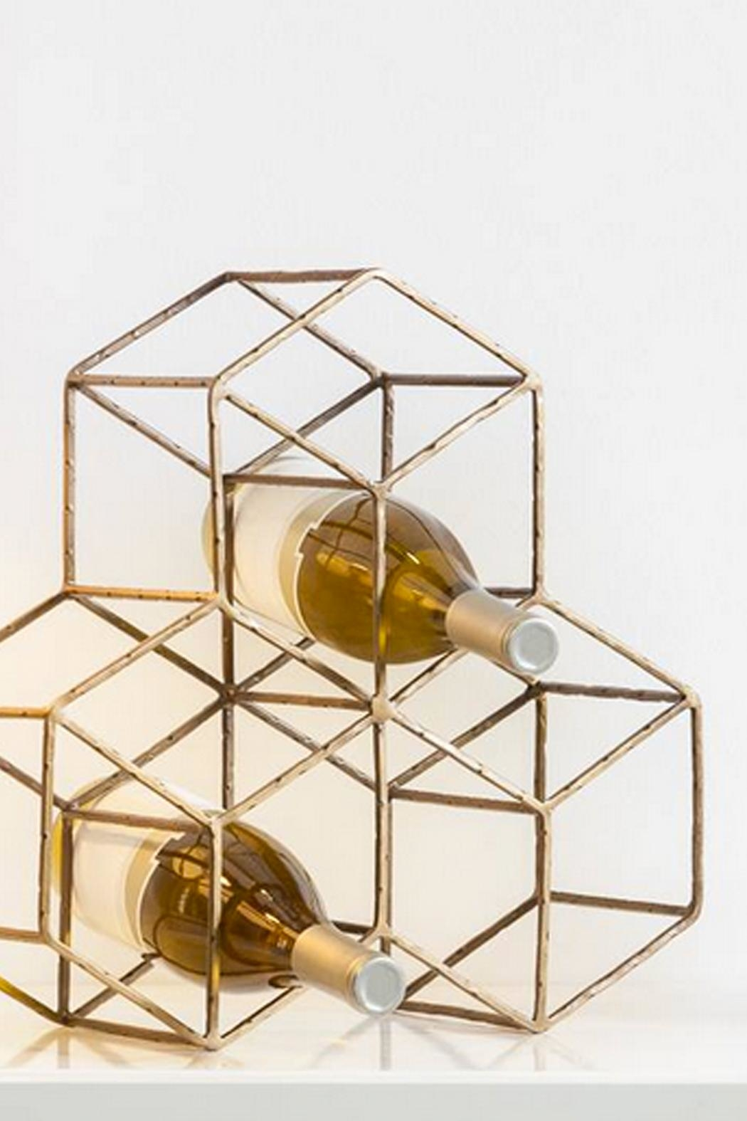 Torre & Tagus Brass Hexagon Wine-Rack - Front Full Image