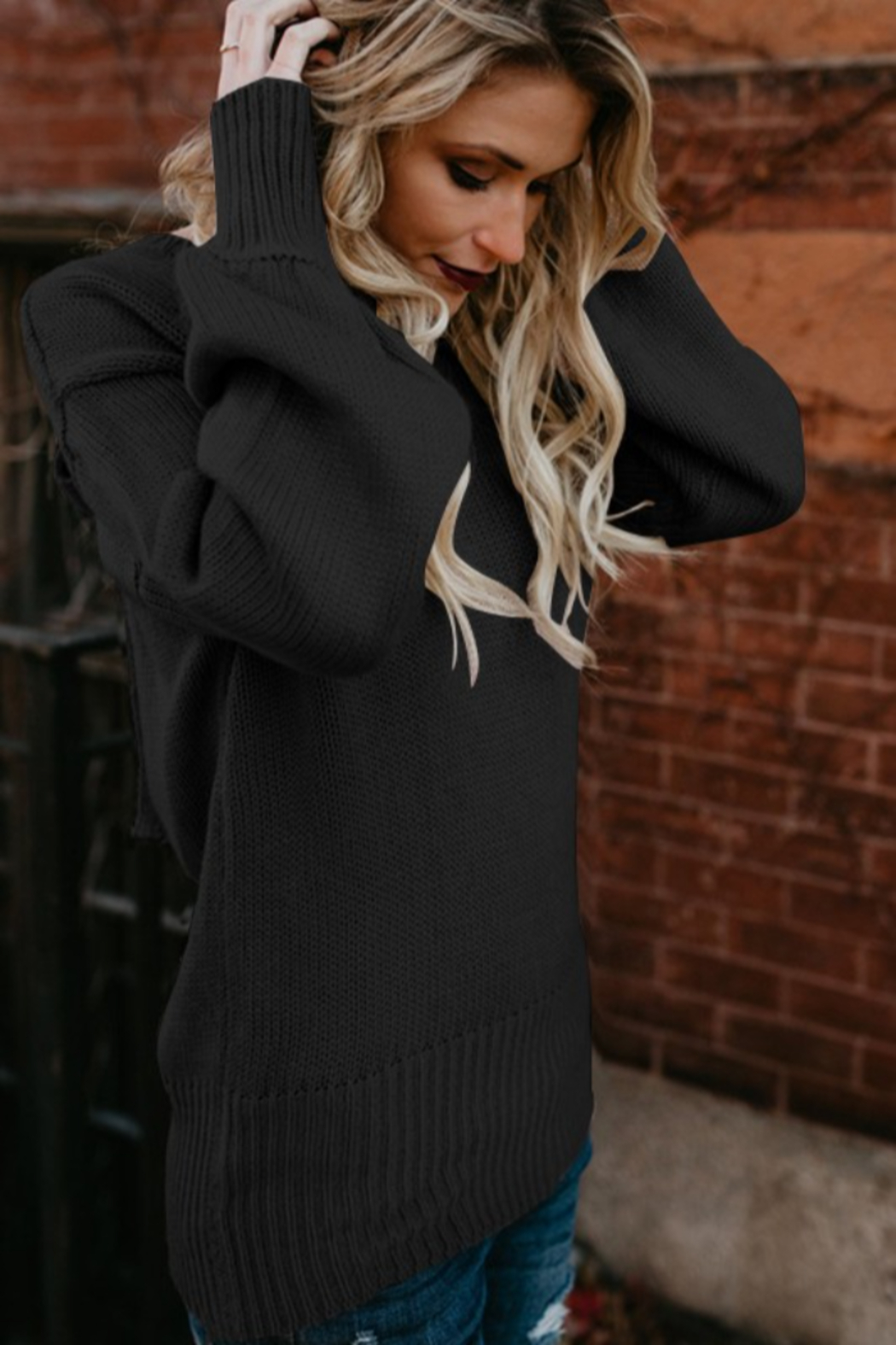 THE FREE YOGA Breanna Tie Back Sweater - Front Full Image