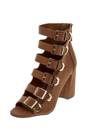 Breckelle's Tan Buckle Shoes - Front cropped