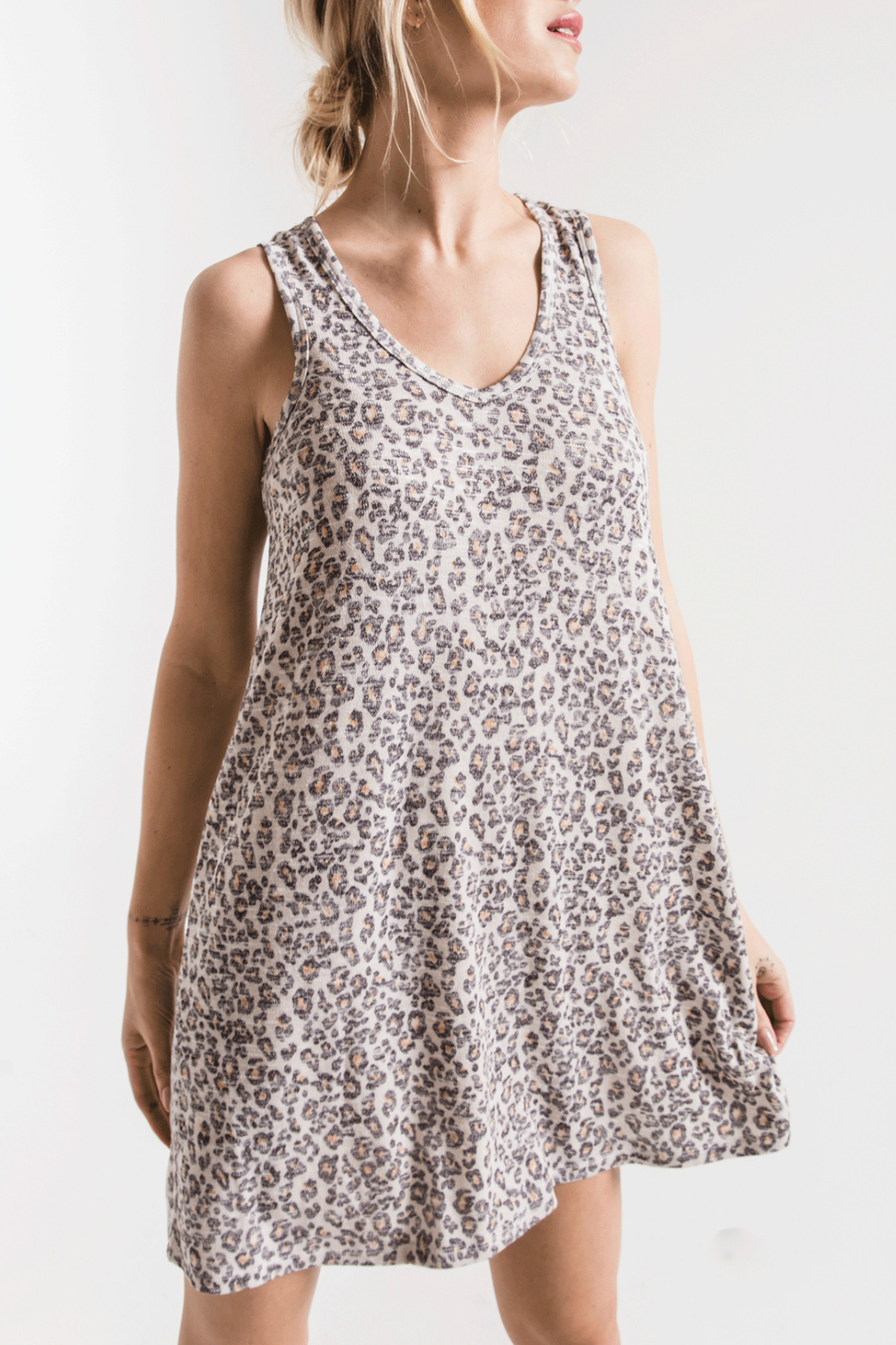 z supply Breezy Leopard Tank Dress - Front Cropped Image