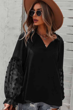 Esley  Breezy Tying Neck Long Sleeve Top - Product List Image
