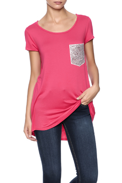 Shoptiques Product: Fuchsia Sequin Pocket Tee