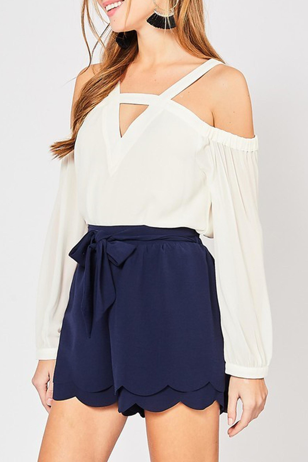Style Trolley Bri Scalloped Shorts - Front Full Image
