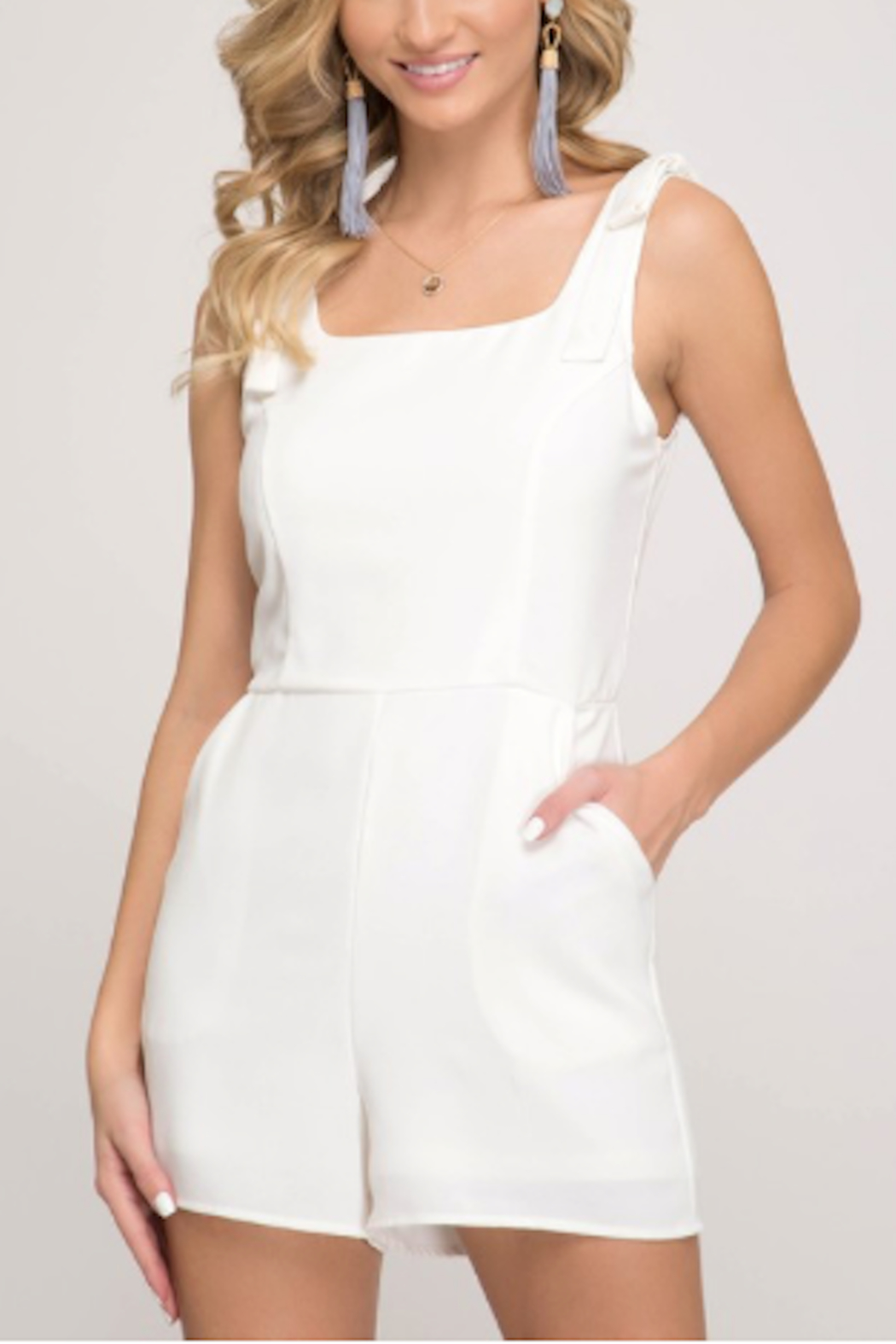 She & Sky  Bri Shoulder Tie Romper - Main Image