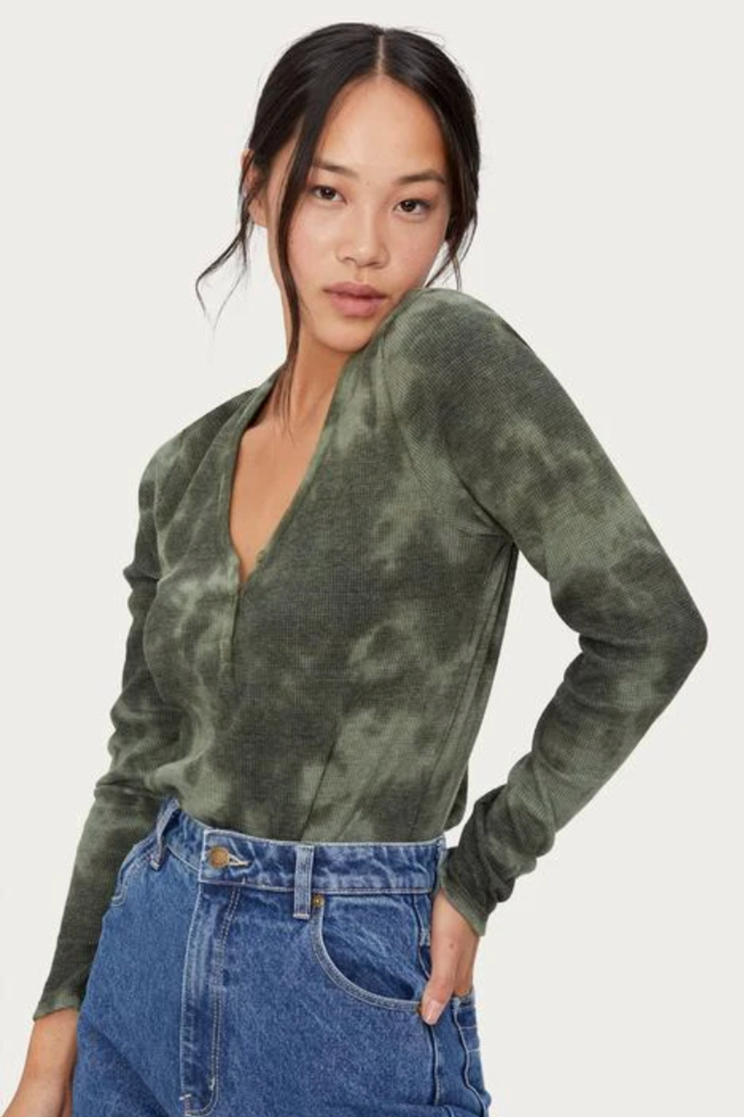 Michael Stars Briann Tie Dye Thermal - Front Full Image