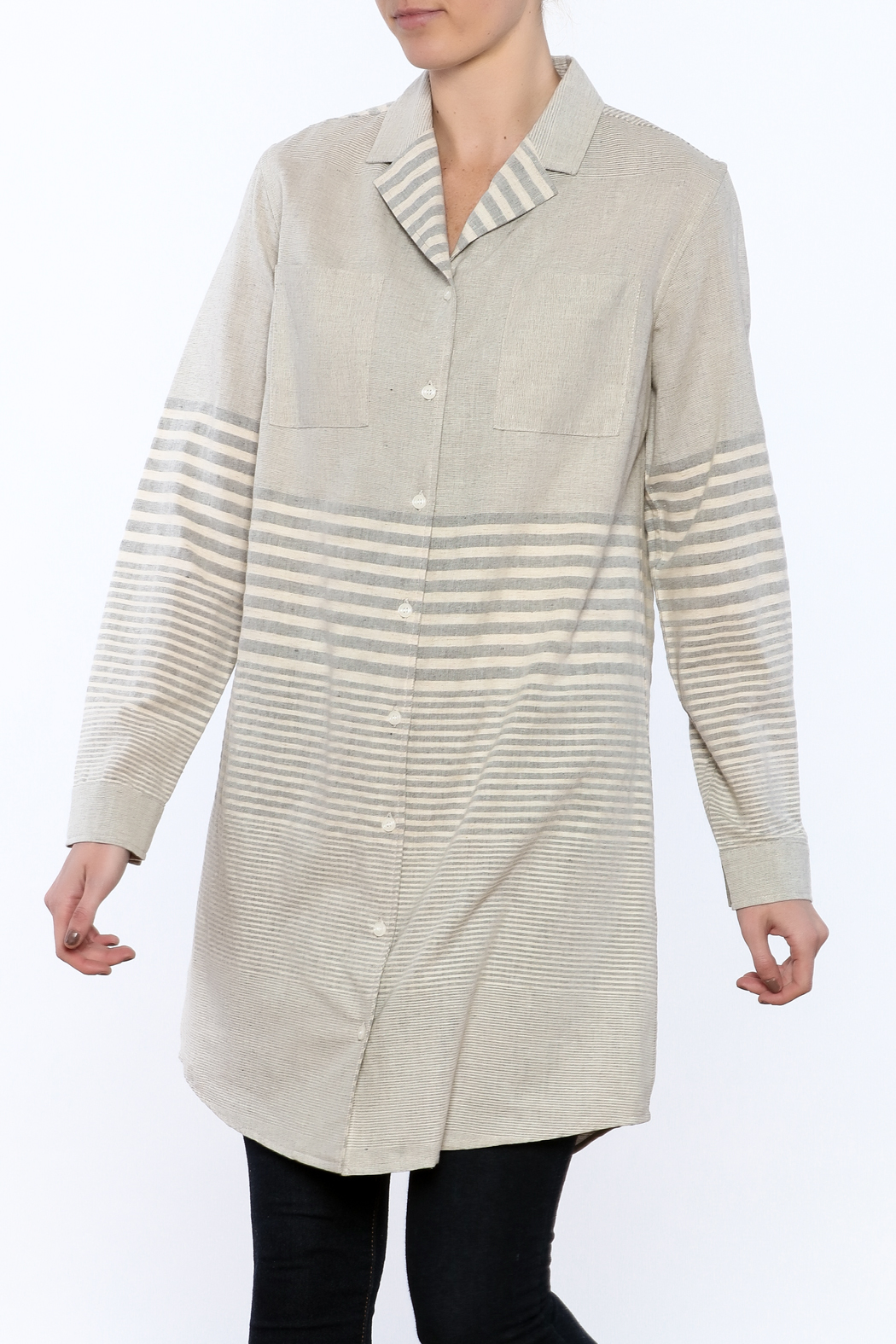 Bridge & Burn Long Striped Shirt - Main Image
