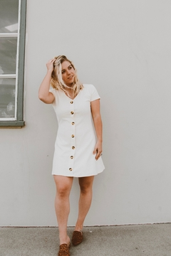 Shoptiques Product: Bridgette White-Button-Down Dress