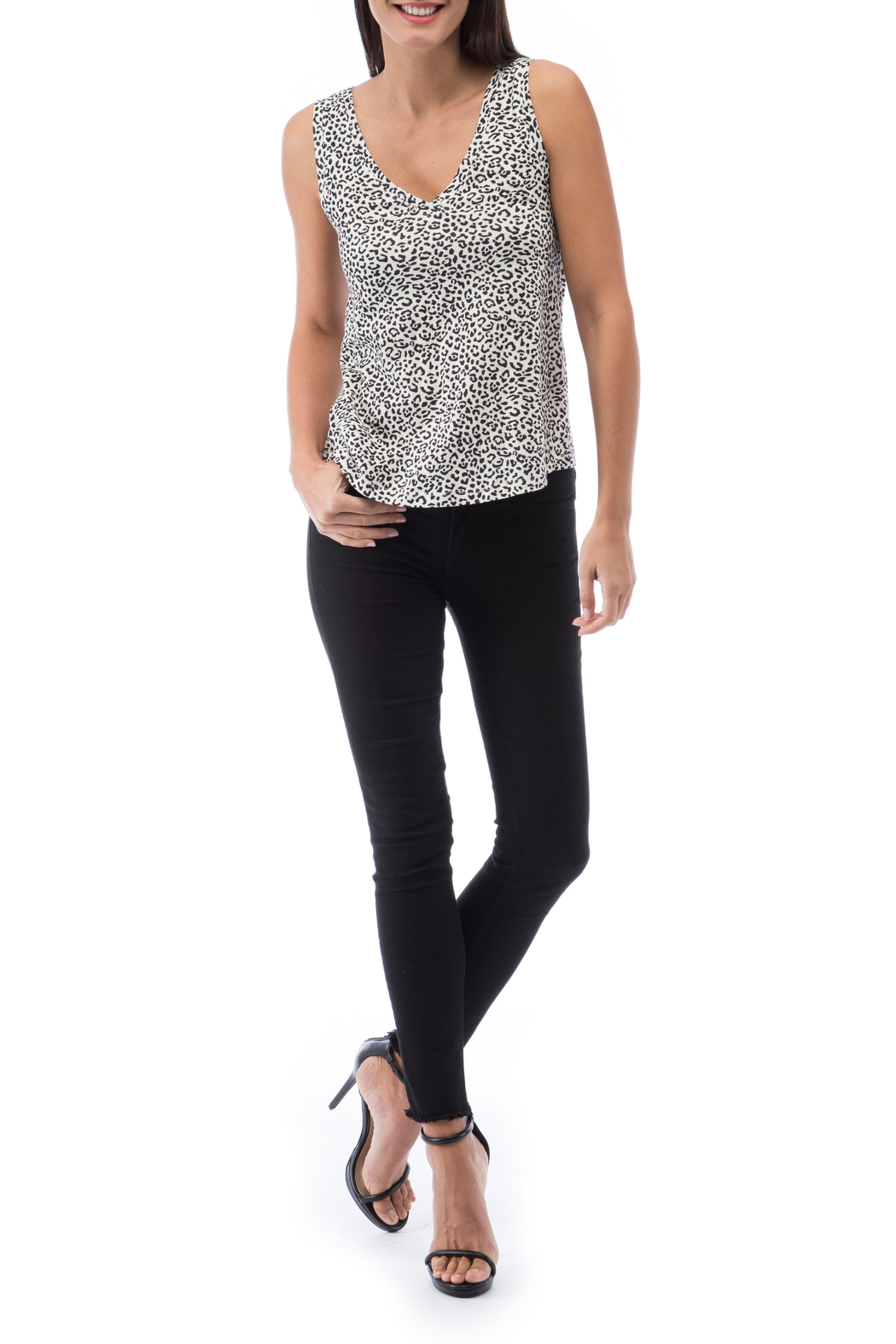 Bobeau Brie Double V Mini Leopard Tank - Front Cropped Image