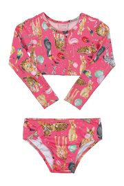 Quimby Bright Pink Animal 2 Piece Long Sleeve Bathing Suit - Product Mini Image