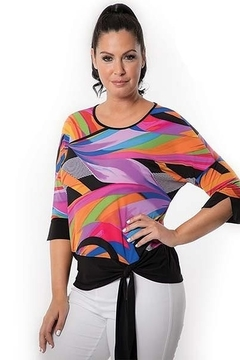 Bali bright print top with black waist - Product List Image