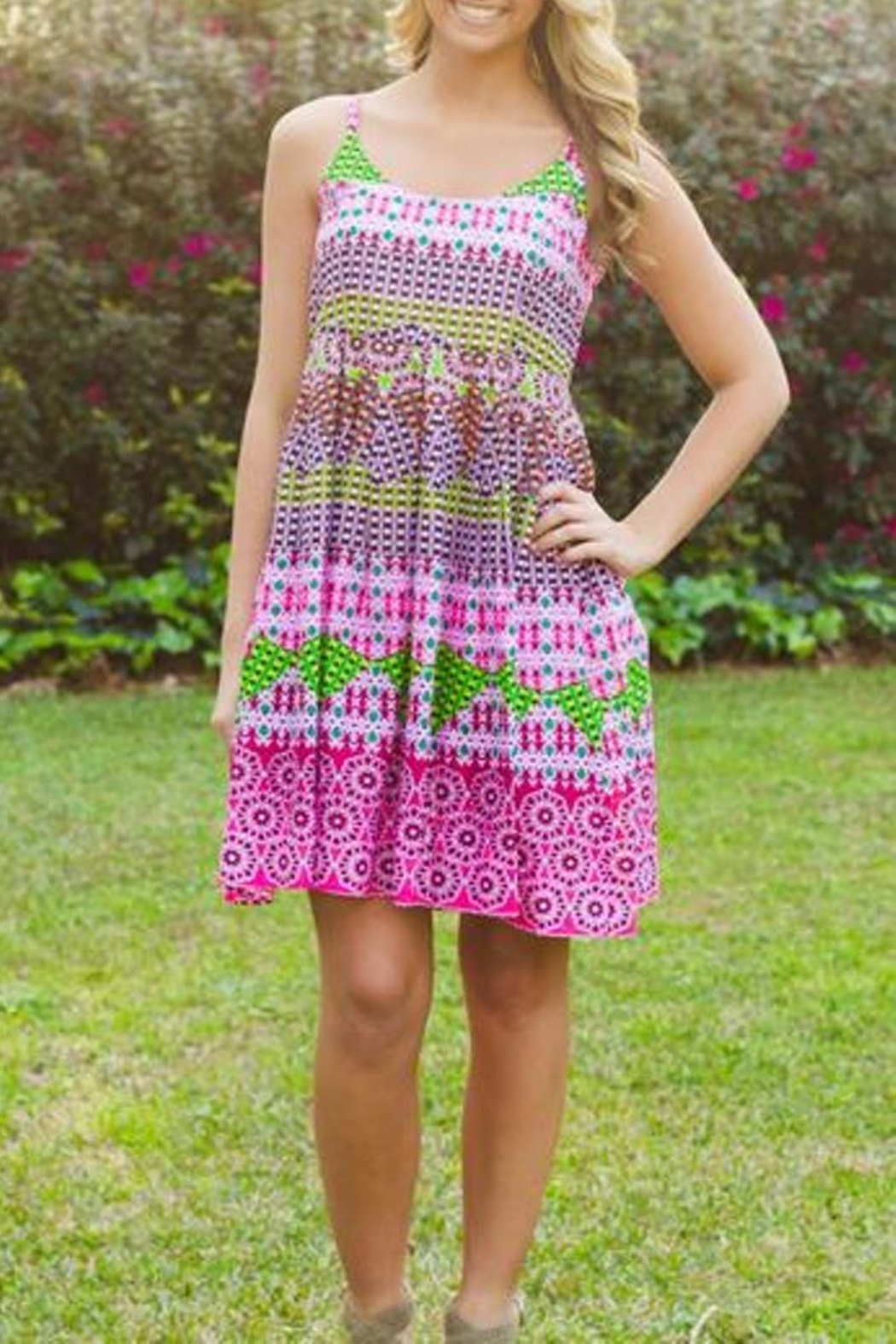Uncle Frank Bright Printed Sundress - Side Cropped Image