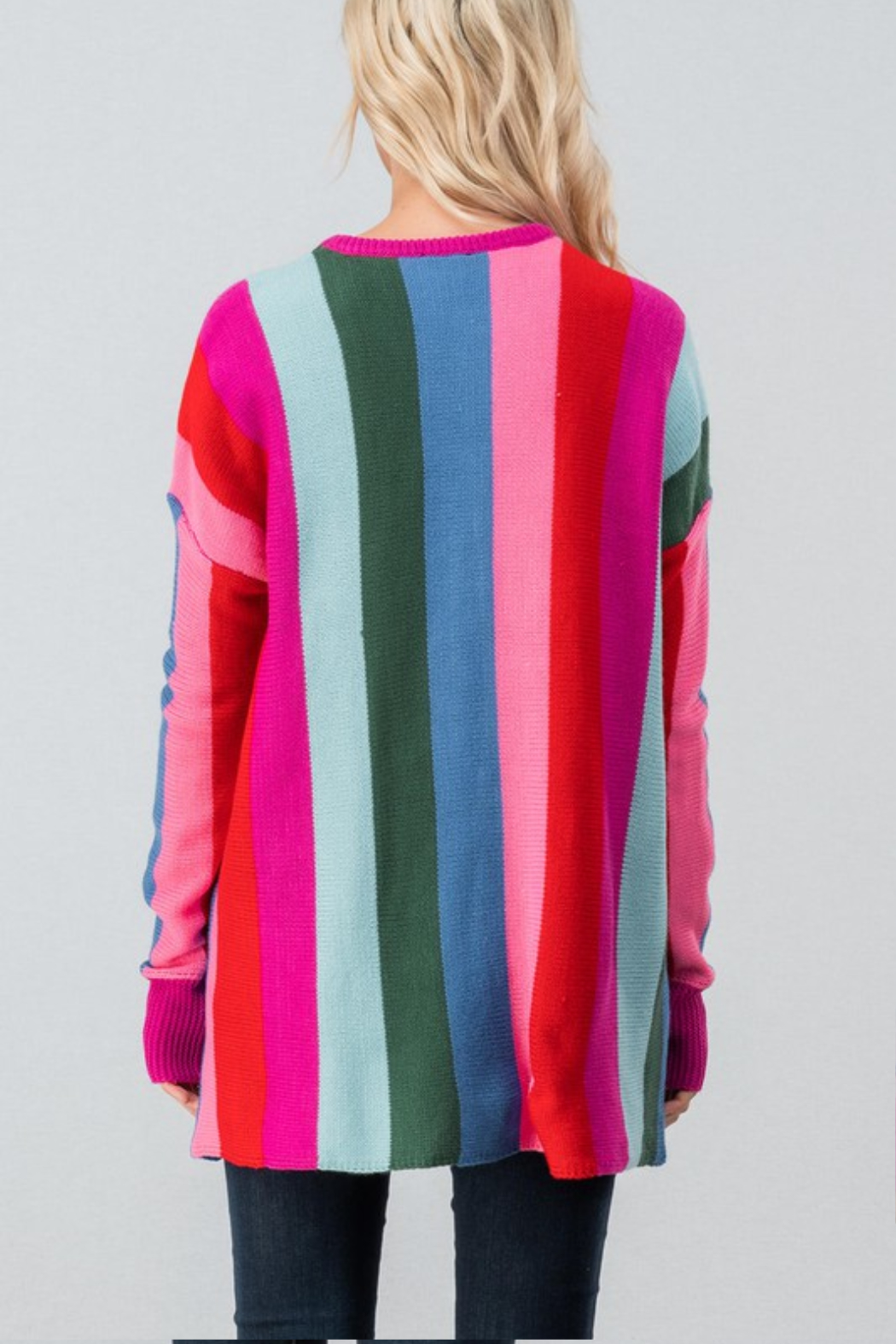 Trend Notes  Bright Stripe Sweater - Side Cropped Image