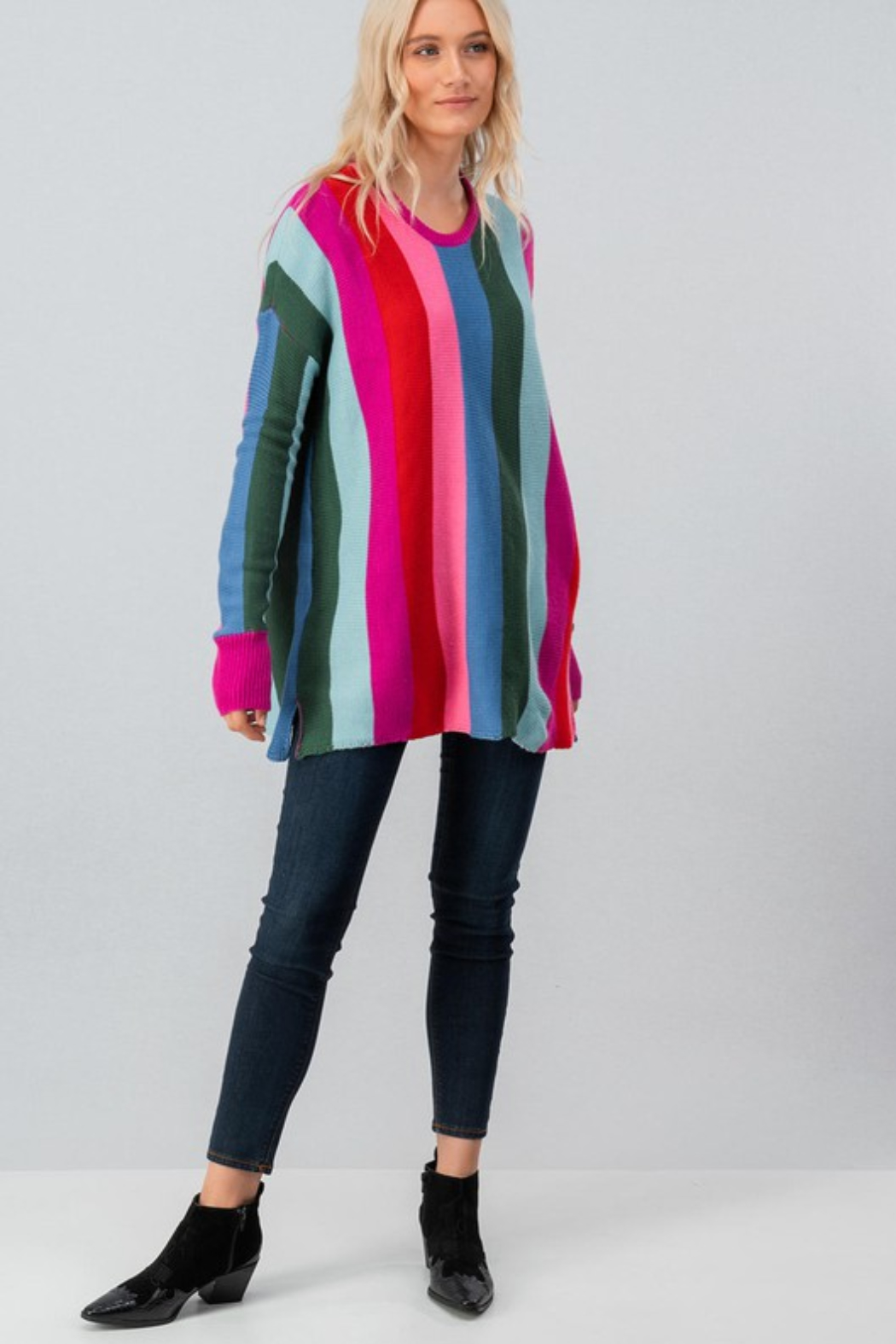 Trend Notes  Bright Stripe Sweater - Back Cropped Image