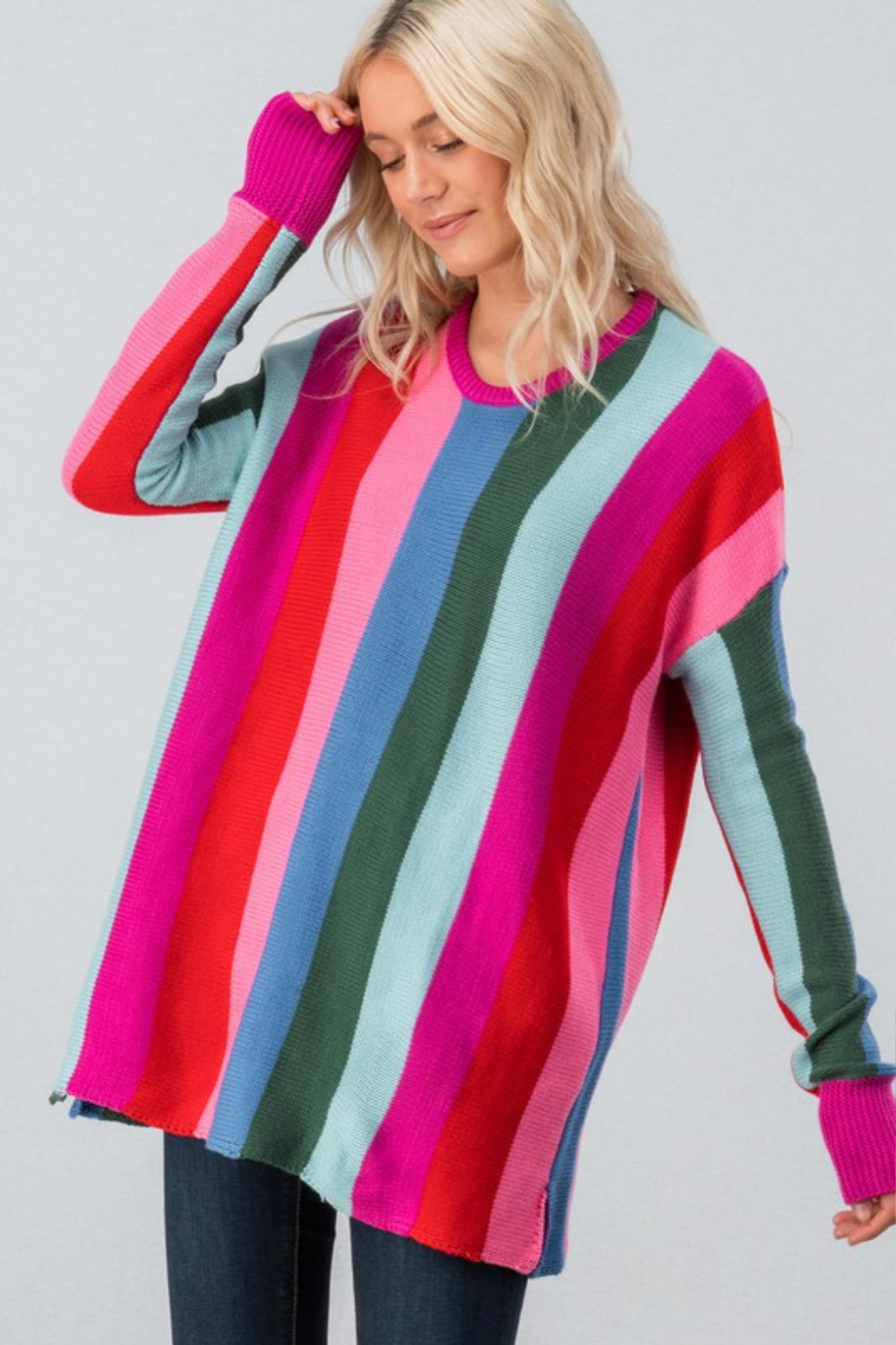 Trend Notes  Bright Stripe Sweater - Front Full Image
