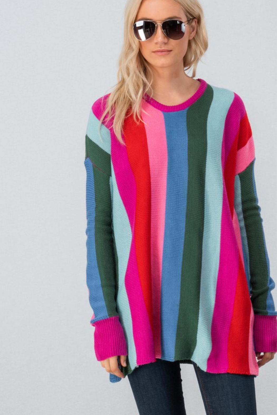 Trend Notes  Bright Stripe Sweater - Main Image