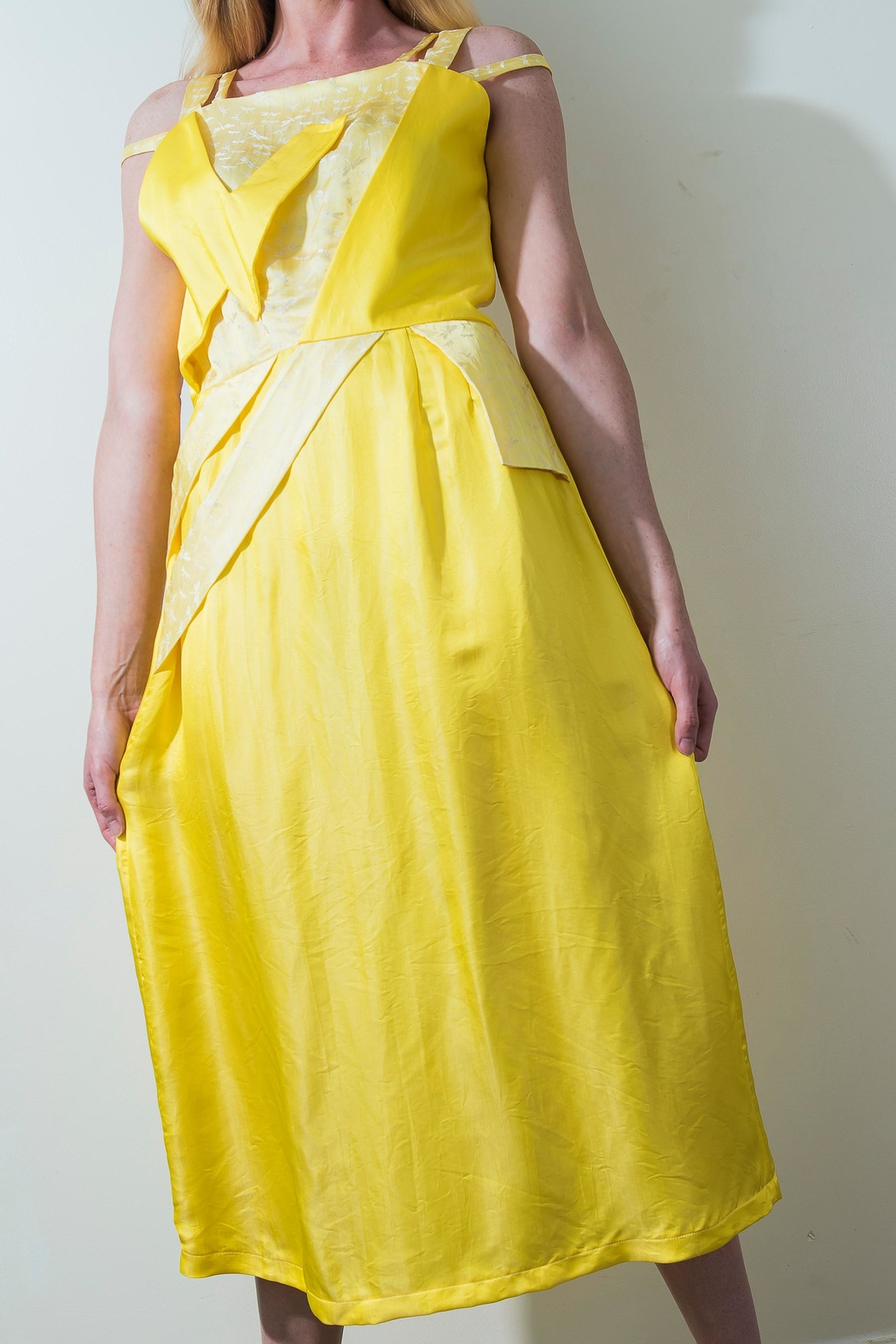 Dawn Sunflower Bright Yello Dress - Back Cropped Image