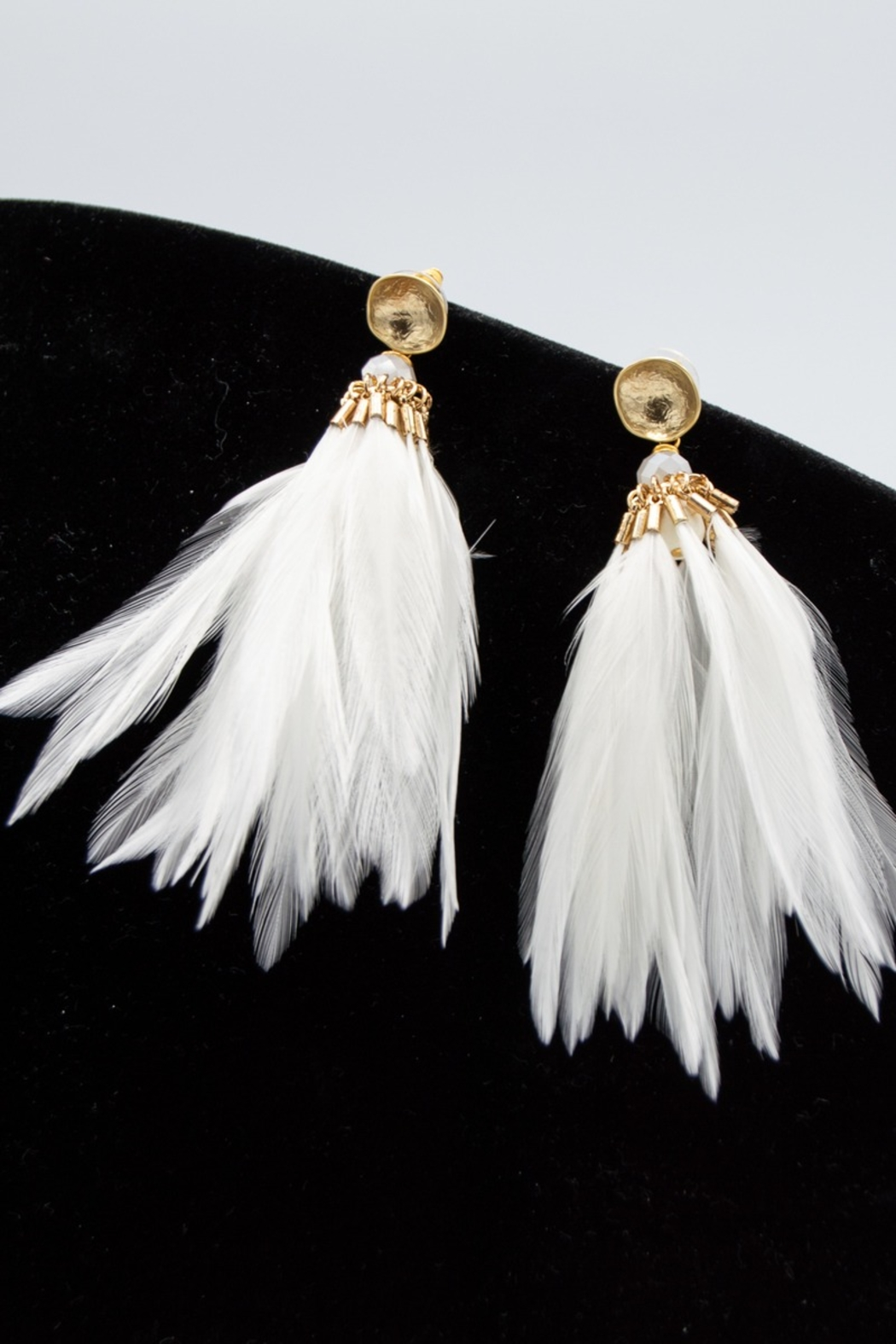 SHIVER + DUKE Brinson Feather Earrings - Front Full Image