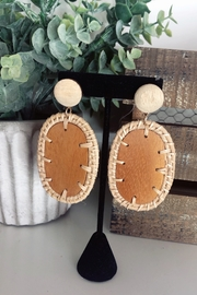 Adriana Bijoux Britany Wooden Oval Earrings - Product Mini Image