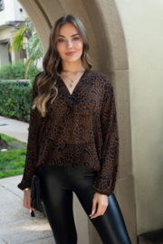Venti 6 Brittany Blouse - Mocha Spot - Front cropped