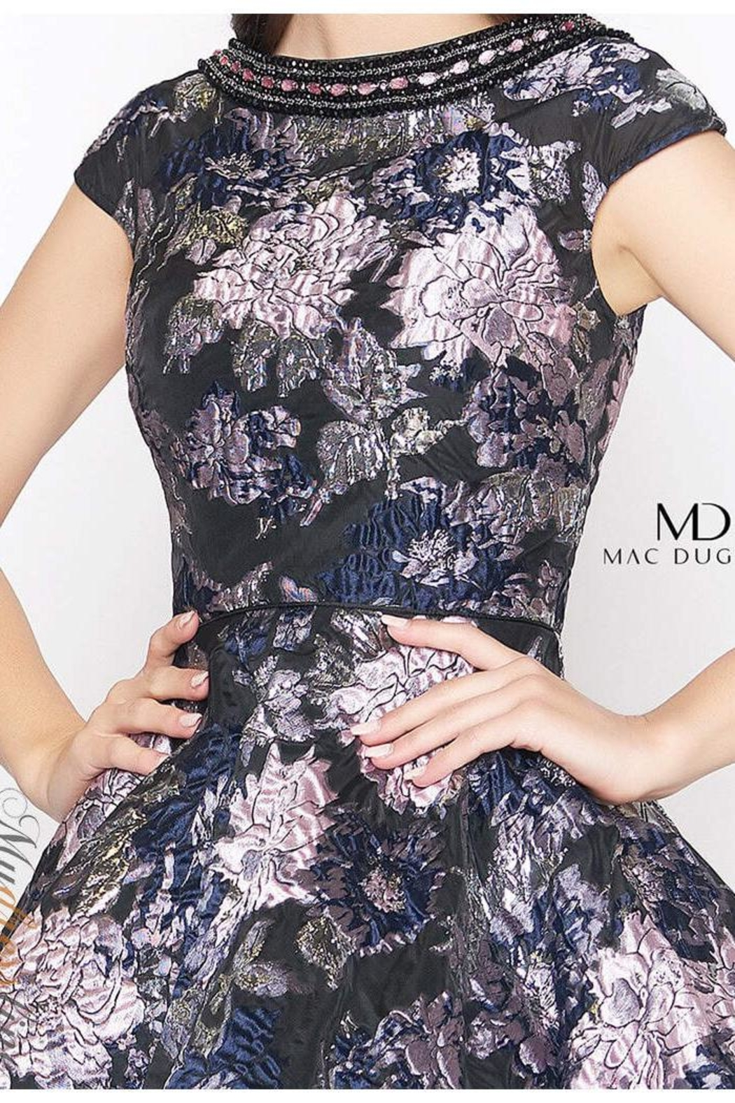 Mac Duggal Brocade Cocktail Dress - Side Cropped Image