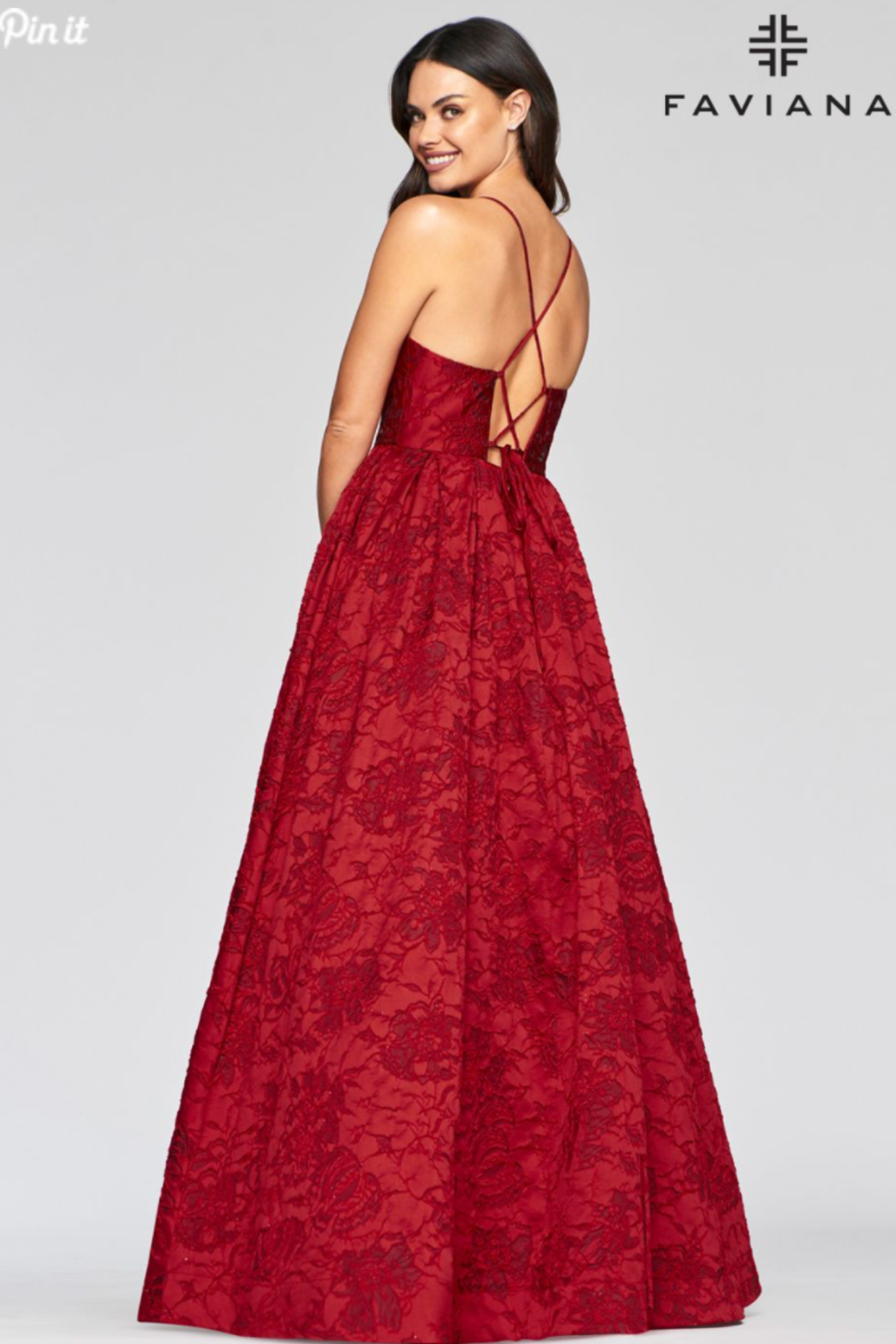 Faviana Brocade Sweetheart Gown - Side Cropped Image