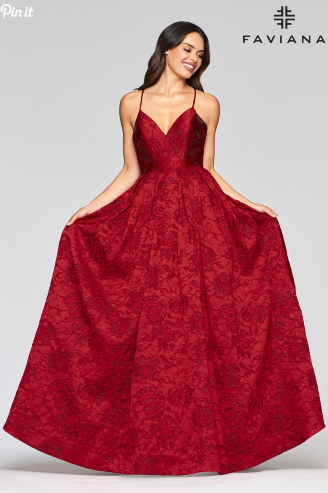 Faviana Brocade Sweetheart Gown - Front Full Image