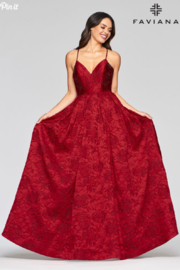 Faviana Brocade Sweetheart Gown - Front full body