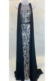Terani Couture BROCADE WITH PANELS GOWN - Product Mini Image