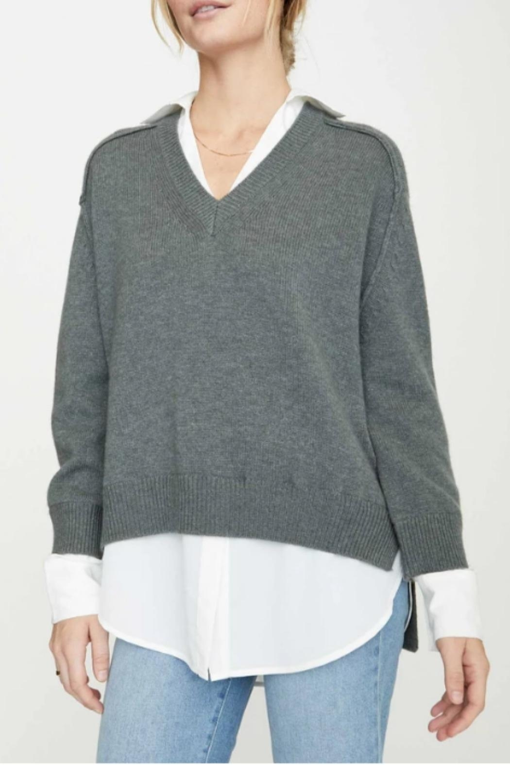 Brochu Walker V-Neck Layered Pullover - Front Full Image