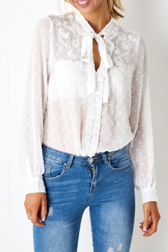 Shoptiques Product: Broderie Pussybow Shirt
