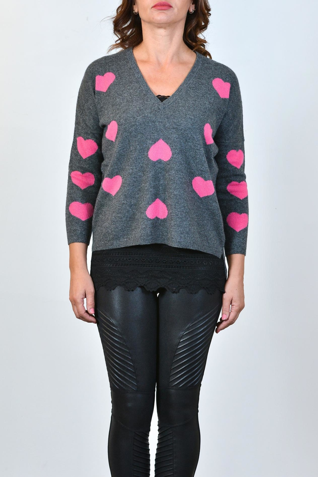 Brodie Heart Cashmere Sweatshirt - Front Cropped Image