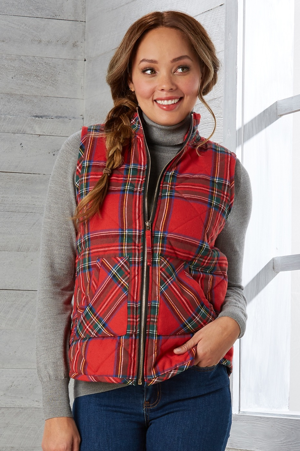 Mud Pie Brodie Quilted Vest - Front Full Image