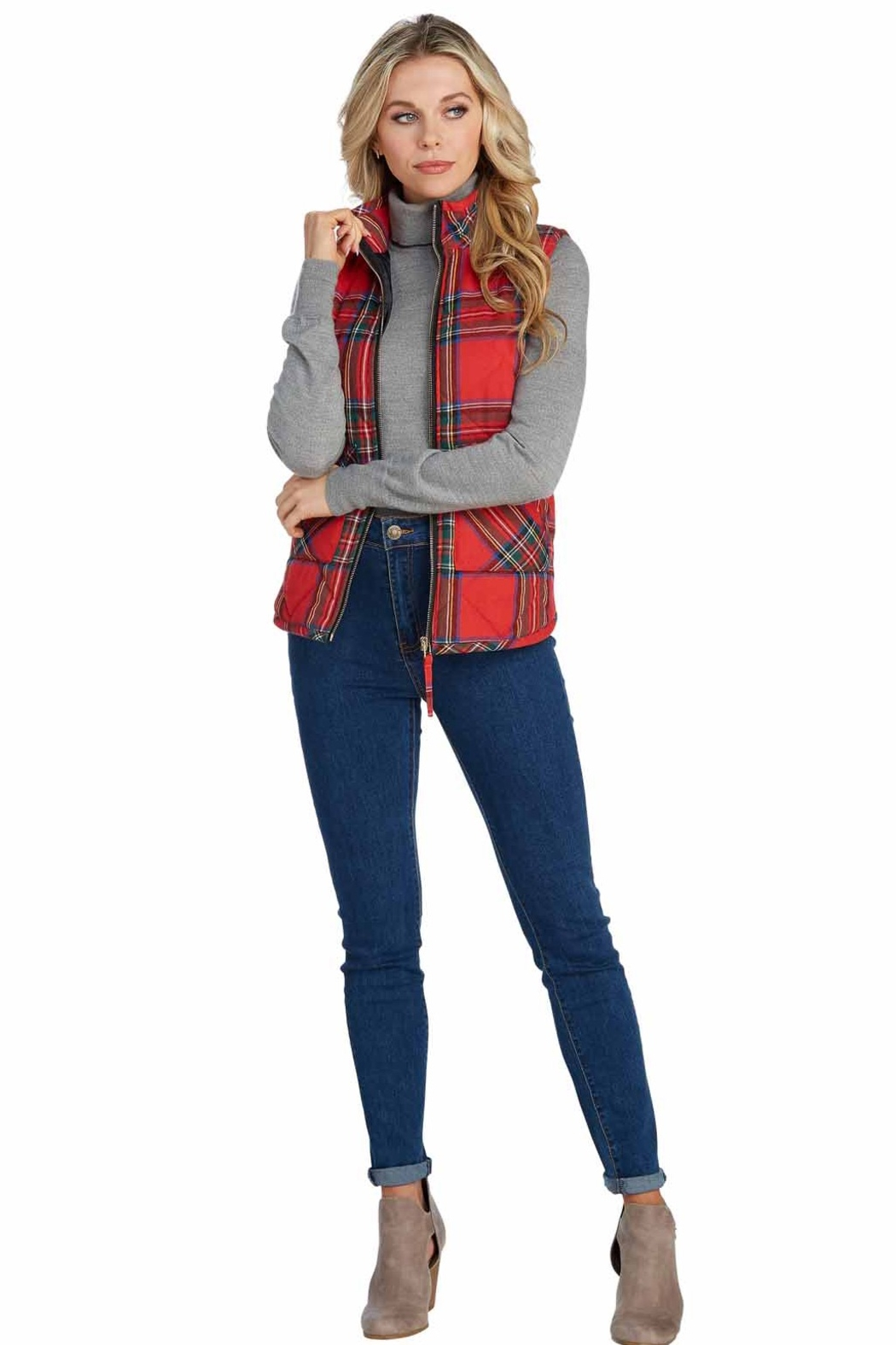 Mud Pie Brodie Quilted Vest - Main Image
