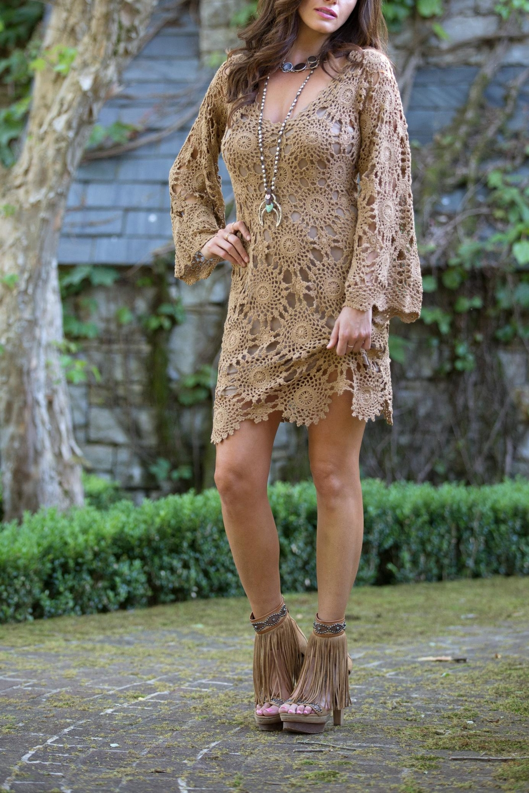 Bronte Karma Crochet Dress - Front Cropped Image