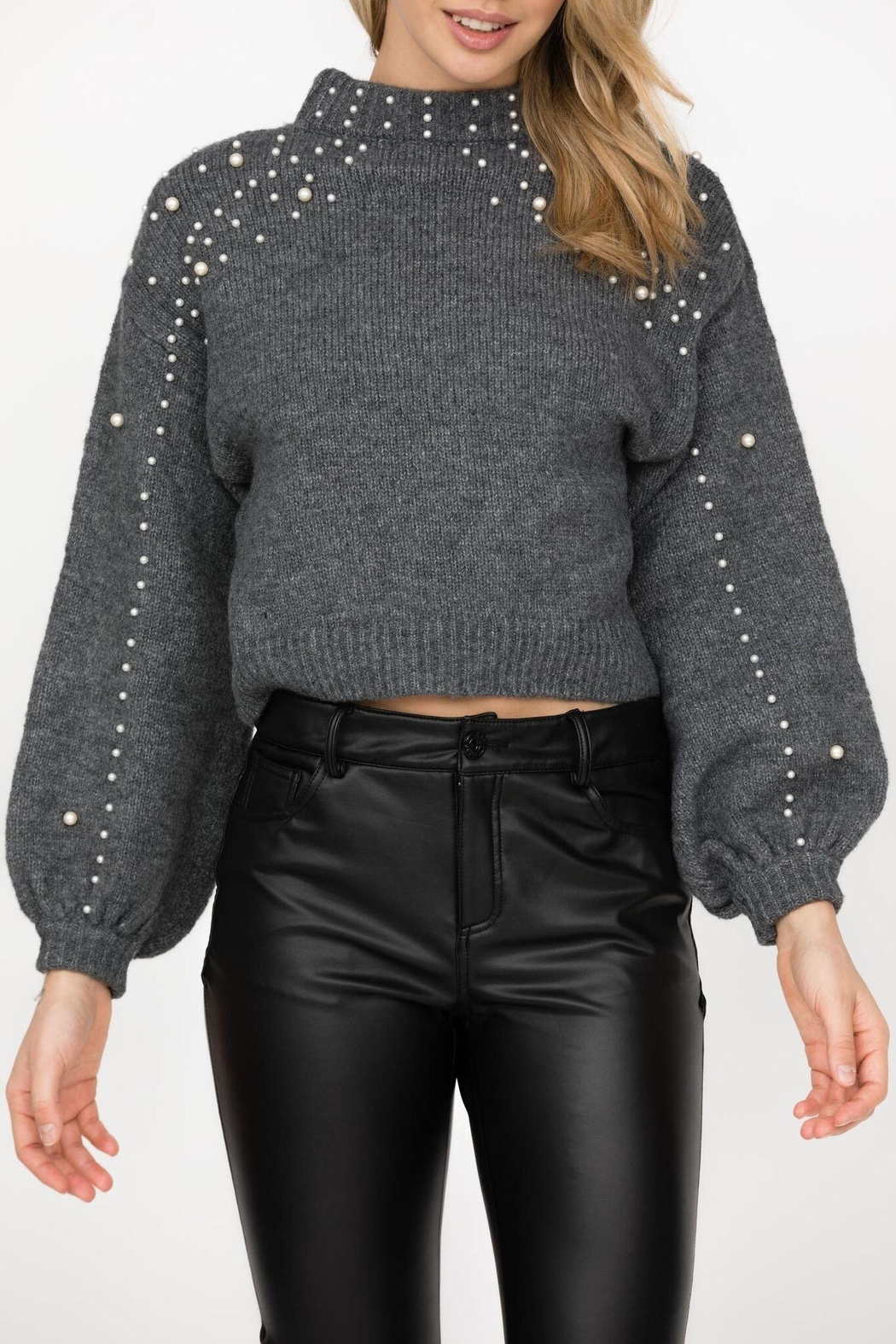 Haute Rogue Bronte Studded Sweater - Back Cropped Image