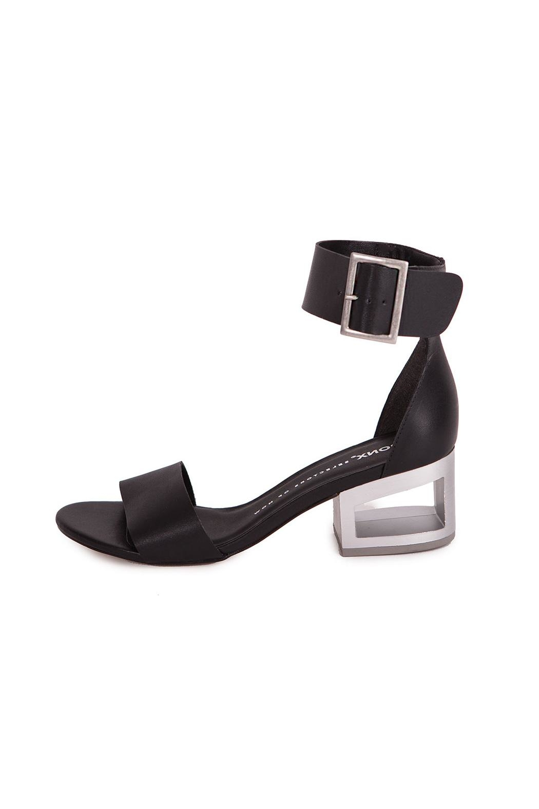 Bronx Black Leather Sandal - Front Cropped Image