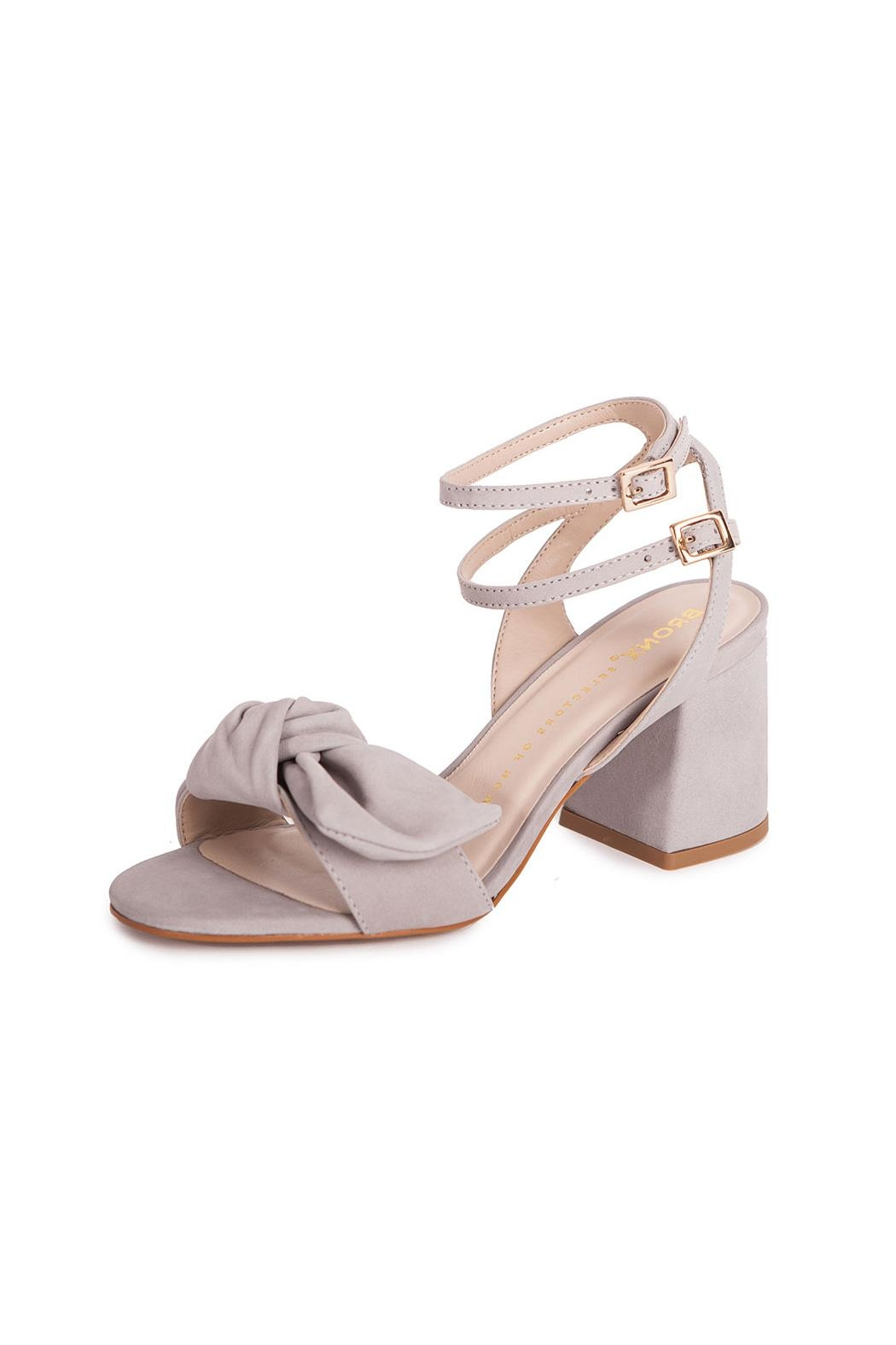 Bronx Grey Suede Sandals - Front Cropped Image
