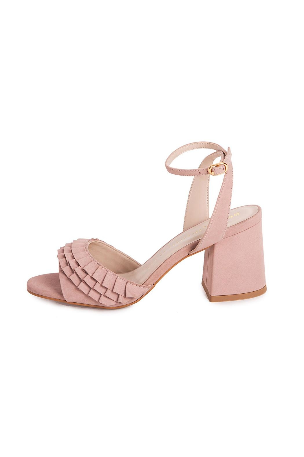 Bronx Pink Suede Heeled Sandals - Front Cropped Image